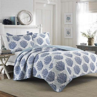 Laura Ashley Coral Coast Seawater Reversible 3-piece Quilt Set