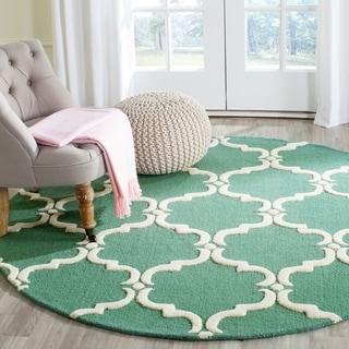 Safavieh Handmade Cambridge Teal/ Ivory Wool Rug (6' Round)
