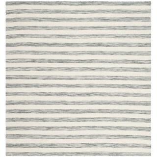 Safavieh Hand-Woven Dhurries Grey/ Ivory Wool Rug (6' Square)