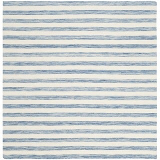 Safavieh Hand-Woven Dhurries Blue/ Ivory Wool Rug (6' Square)