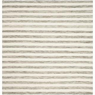 Safavieh Hand-Woven Dhurries Brown/ Ivory Wool Rug (6' Square)