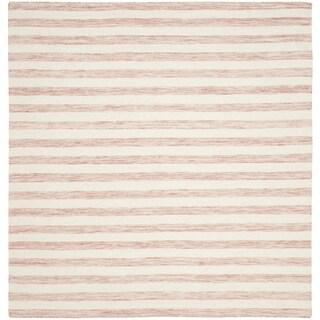 Safavieh Hand-Woven Dhurries Rust/ Ivory Wool Rug (6' Square)