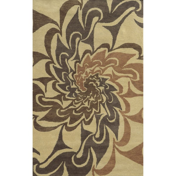 Beige/ Light Rust/ Brown/ Medium Brown Bradberry Downs Collection 100-percent Wool Accent Rug (8' x 10')