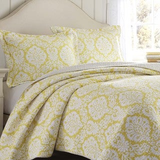 Laura Ashley Julia Lemon Reversible 3-piece Quilt Set