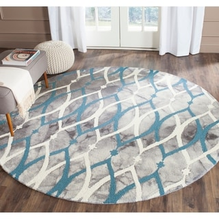 Safavieh Hand-Tufted Dip Dye Grey/ Ivory Blue Wool Rug (7' Round)