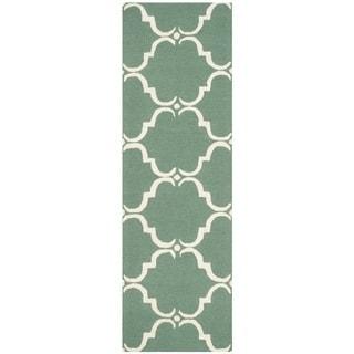 Safavieh Handmade Cambridge Teal/ Ivory Wool Rug (2'6 x 6')