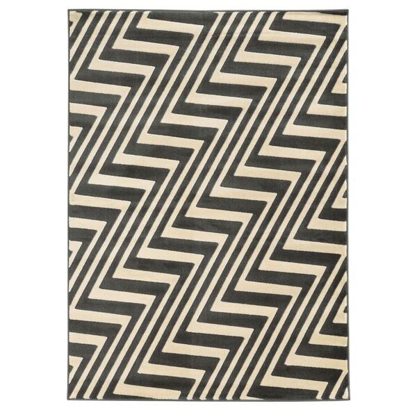 Linon Roma ZigZag Charcoal/Grey Rug (8' x 10')