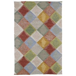 Mallard Creek Robin's Egg Argyle Diamonds Wool Rug (5'0 x 7'9)