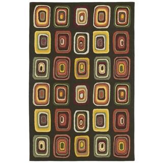 """Moods Charcoal Kara Geometric Wool Rug (5' x 7'9"""")"""