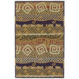 "Moods Ecru Bangalore Swirls Wool Rug (9'6"" x 13')"