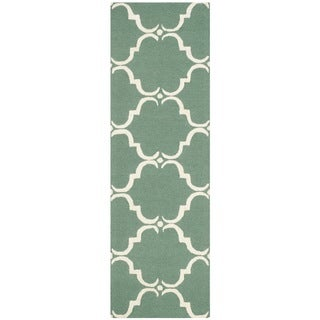 Safavieh Handmade Cambridge Teal/ Ivory Wool Rug (2'6 x 8')