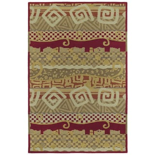 "Moods Red Bangalore Swirls Wool Rug (9'6"" x 13')"