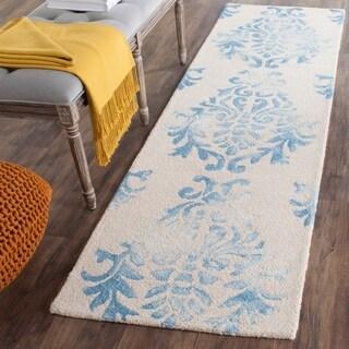 Safavieh Hand-Tufted Dip Dye Beige/ Blue Wool Rug (2'3 x 8')
