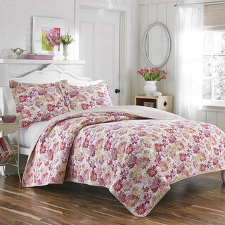 Laura Ashley Secret Garden Coral Reversible 3-piece Quilt Set