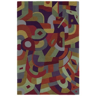 "Moods Tangerine Holi Abstract Wool Rug (5' x 7'9"")"
