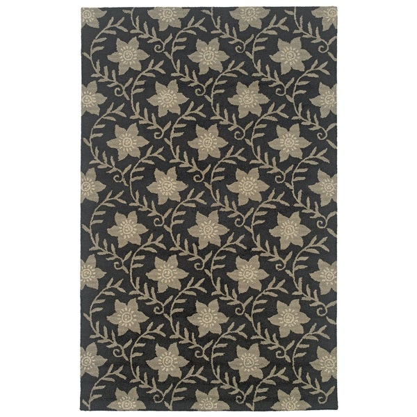 Black Rizzy Home Country Collection Hand-Tufted New Zealand Wool Accent Rug Runners Hold (2'6 x 8')