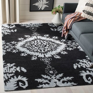 Safavieh Hand-knotted Stone Wash Charcoal Wool Rug (8' x 10')