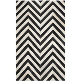 Safavieh Hand-woven Studio Leather White/ Black Leather Rug (8' x 10')