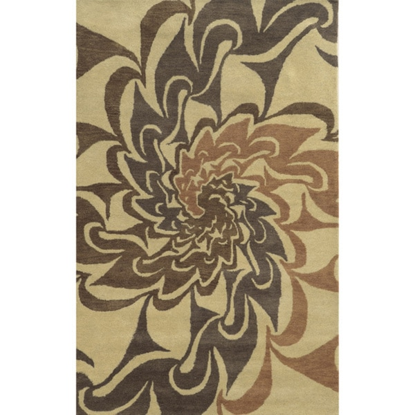 Beige/ Light Rust/ Brown/ Medium Brown Bradberry Downs Collection 100-percent Wool Accent Rug (2' x 3')