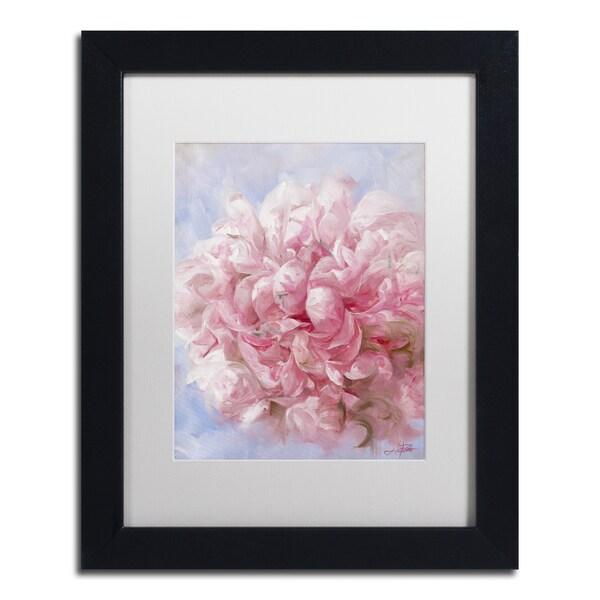 Li Bo 'Pink Peonie I' Matted Framed Art
