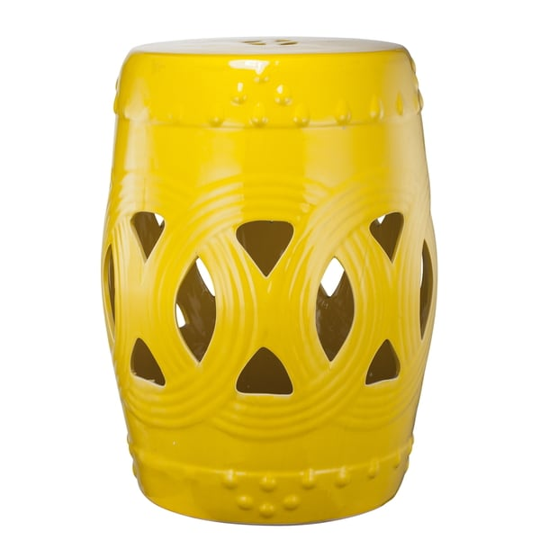 Janel Yellow Garden Stool Overstock Shopping Great