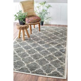nuLOOM Hand Knotted Natural Fiber Trellis Wool/ Jute Border Rug (7'6 x 9'6)