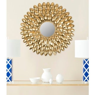 Royal Leaf Sunburst Antique Gold Mirror
