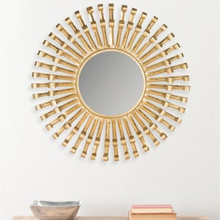 Safavieh Rayos Sunburst Antique Brass Mirror