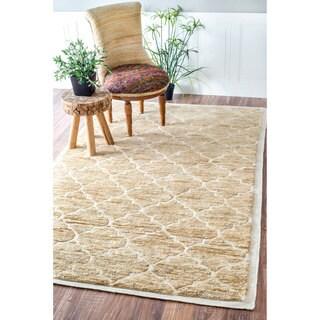 nuLOOM Hand Knotted Natural Fiber Trellis Wool/ Jute Border Rug (5' x 8')