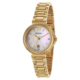 Bulova Women's 'Diamonds' Stainless Steel Yellow Gold Plated Quartz Watch