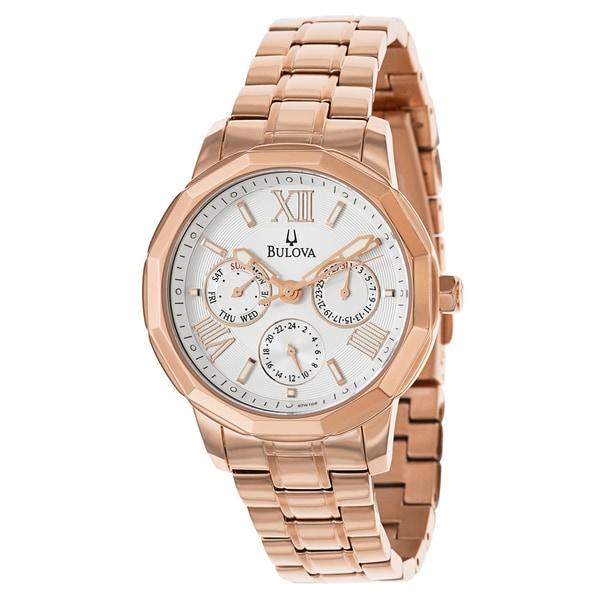 Bulova Women's 'Bracelet' Stainless Steel Rose Gold Plated Quartz Watch