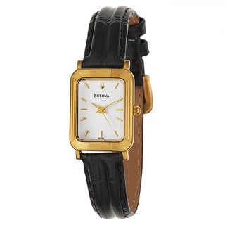 Bulova Women's 'Strap' Stainless Steel Yellow Gold Plated Quartz Watch
