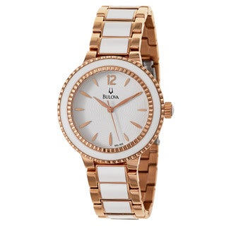 Bulova Women's 'Classic' Stainless Steel Rose Gold Plated Quartz Watch
