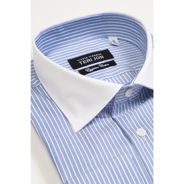 Teri Jon Pour Monsieur Men's Blue Striped/ Solid White Collar Dress Shirt