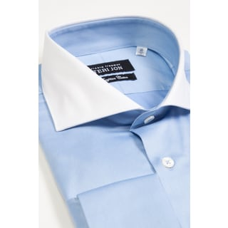 Teri Jon Pour Monsieur Men's Blue/ White Spread Collar Egyptian Cotton Dress Shirt