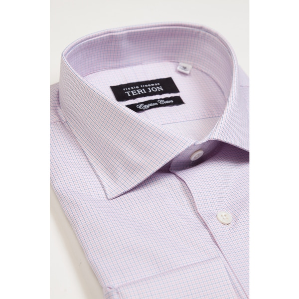 Teri Jon Pour Monsieur Men's Pink/ Blue Check Dress Shirt