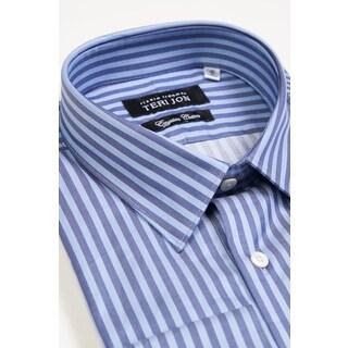 Teri Jon Pour Monsieur Men's Blue Stripe Egyptian Cotton Dress Shirt