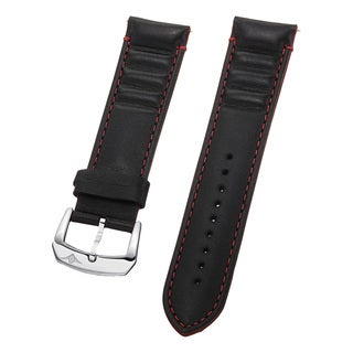 Stuhrling Original Men's Black Leather Strap With Red Stitching