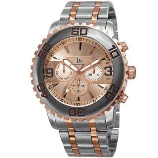 Joshua & Sons Men's Swiss Quartz Multifunction Dual Time Stainless Steel Bracelet Watch