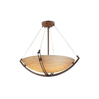 Justice Design Group Porcelina Bronze 3-light Crossbar Round Pendant