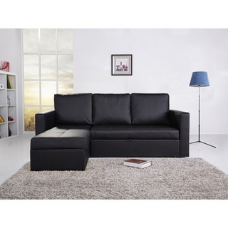 Saleen Bi-cast leather 2-Piece Sectional Sofa Bed with Storage and Cupholders in Black