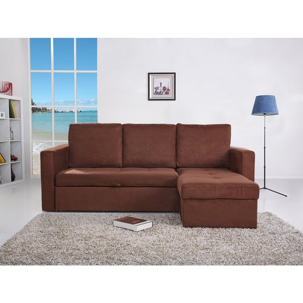 Saleen Microsuede 2-Piece Sectional Sofa Bed with Storage and Cupholders in Coffee