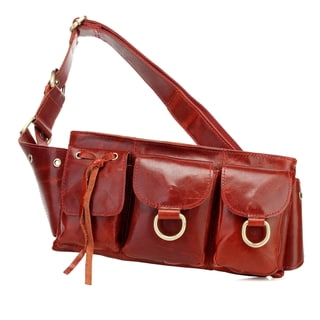 Adonis Small Red Genuine Leather Waist Bag Fanny Pack