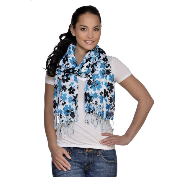 Amtal Floral Multicolored Blue Scarf