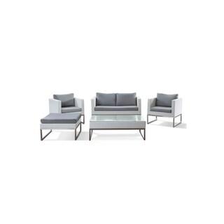 Crema Modern Outdoor Conversation 5- piece Wicker Set