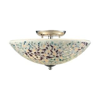 Glass Mosaic 3-light Semi-flush in Polished Chrome