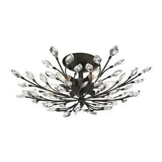 Crystal Branches 6-light Semi-flush in Burnt Bronze
