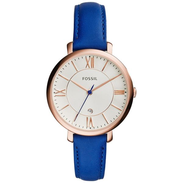 Fossil Woman's ES3795 Jacqueline Three-Hand Date Leather Blue Strap Watch