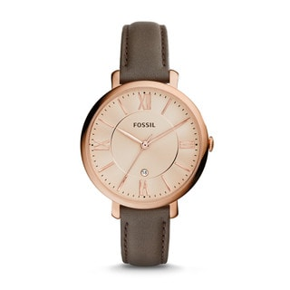 Fossil Woman's ES3707 Jacqueline Three-Hand Date Leather Watch - Gray