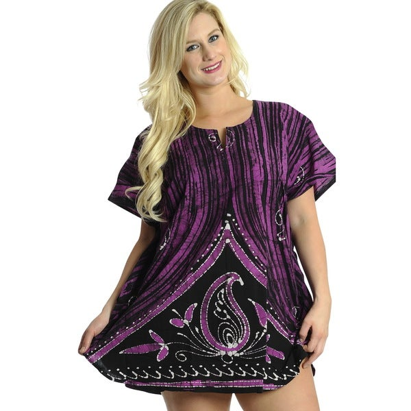 La Leela Batik 100-percent Cotton Simple Paisley Printed Short Kaftan Caftan Purple